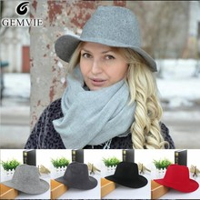 100% Pure Wool Fedoras Hats For Women Solid Wide Large Brim Vintage Jazz Caps Casual Soft Cashmere Sunhats 5 Colors