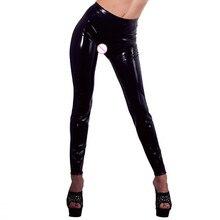 HU&GH Plus Size XXL Black Sexy Vinyl Leggings Bandage Novelty Exotic Apparel Women Faux Leather Legging Open Crotch Fetish Pants