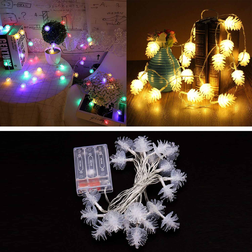 behogar 118inch 20 led battery operated pinecones string lights for home halloween christmas party tree yard decoration propsusd 383piece - Battery Operated Christmas Yard Decorations