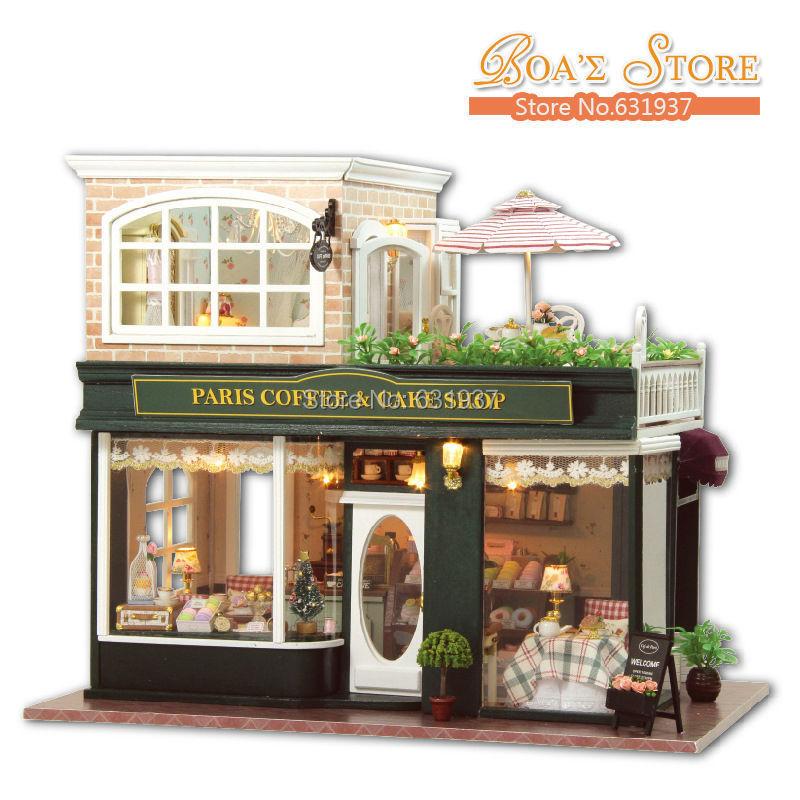 2015 Nouveau Bricolage Grand En Bois Miniature café Maison De Poupée Créative 3D Modèle de Puzzle Jouets Maisons De Poupée Anniversaire Cadeau De Noël