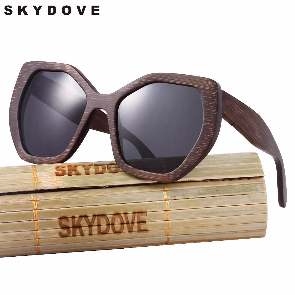 SKYDOVE Square Hexagon Brown Bamboo Sunglasses