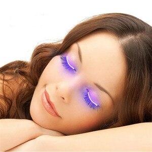 Image 1 - האופנה יוניסקס LED אור מזויף False ריס זוהר הניצוץ ריס עבור המפלגה בר איפור עיניים לאש ריסים מלאכותיים עפעף 20 #626