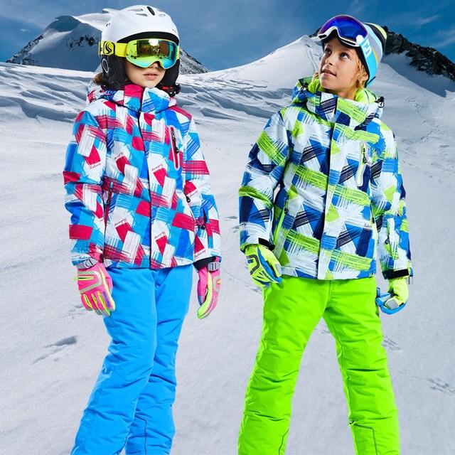 Outdoor kinderen skipak set verdikte waterdicht jongens Meisjes ski kleding set 2 stuks warm ski jas en broek voor sneeuw stad