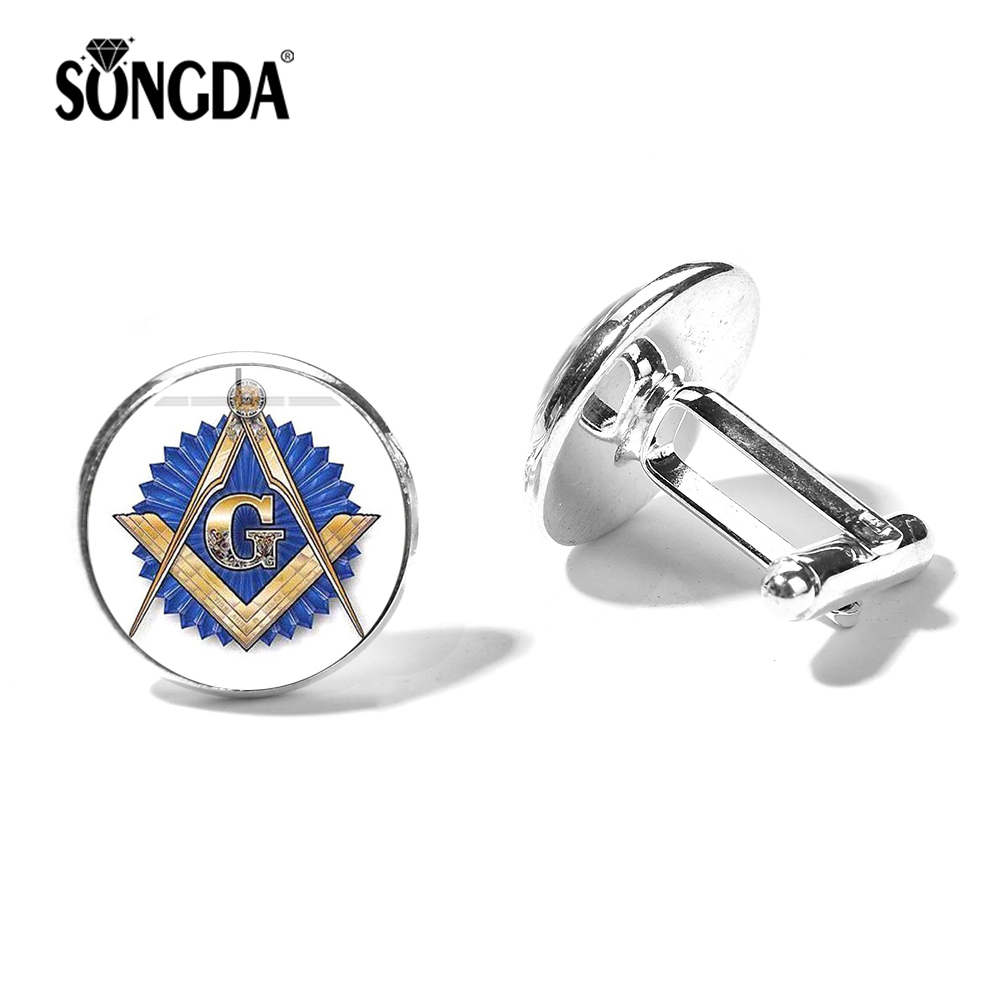 SONGDA Fashion Blue Masonic Cufflinks Freemason G Templar Art Symbol Glass Cabochon Silver Bronze Plated Metal Cuff Links Button