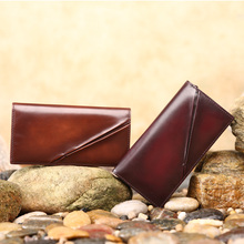 TERSE_Slim men wallet antique style handmade genuine leather bag large capacity custom logo 3 colors factory to customer