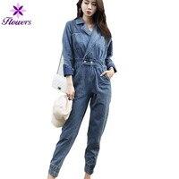 Осенние джинсовые комбинезон женская одежда плюс Размеры новый корейский Повседневное с длинными рукавами комбинезон элегантный Высокая