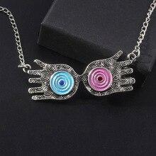 цены SG Harri Potter Necklace Luna Lovegood Glass Figure Choker Philosopher Stone Deathly Hallows Hermione Time Tuner Charms Jewelry