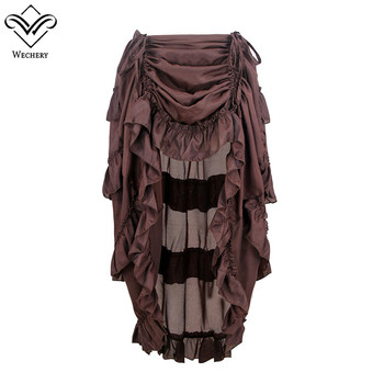 Wechery Women Skirts Sexy Long Maxi Steampunk Skirts Punk Midi Gothic Corset Skirt Lace high elasticity pleated Skirts Tulle darkinlove women gothic skirt butterfly embroideried high waisted sexy lace hem maxi dovetail wrap party skirt