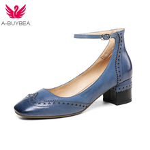 Spring New Real Leather Bullock Wmen Pumps Ankle Strap Thick Heels Women Office Shoes Buckle Ladies Mid Heels Square Toe Shoes недорого