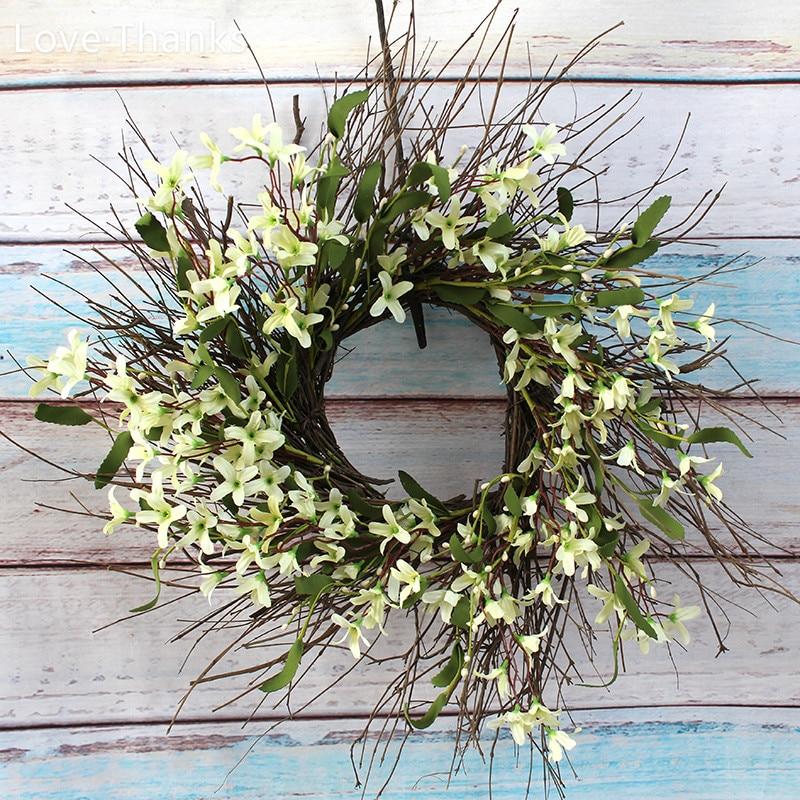 Love Thanks Decoration Home Garden Forsythia Flower Wreath Spring