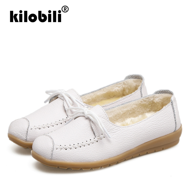 kilobili 2018 Autumn Women Flats Shoes Women Genuine Leather Shoes Ladies Fur Slip On Ballet Flats Loafers Female Ballerina 5