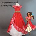 2017 New Elena of Avalor Princess Elena Cosplay Costume Red Fancy Dress For adult Custom Made Free shipping