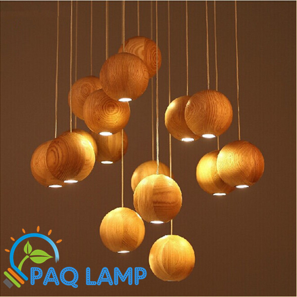 Vintage retro lamps pendant lights Wood ball lamps LED G4 Indoor lighting fixture quick g type clip g wood wood fixture fixture g fast clip 4 inch