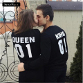 High Quality KING QUEEN Printed Back Sweatshirts Women Men Black White Lovers Couple Hoodies Top Harajuku Kpop Sweatshirts H1072