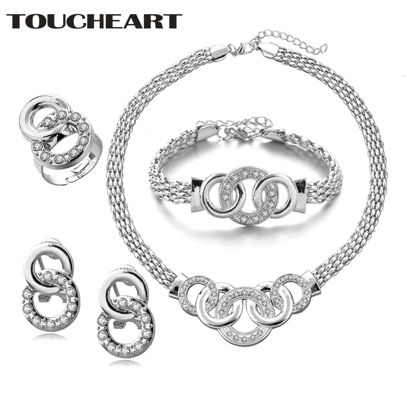 TOUCHEART Loop Wedding Silver <font><b>Earrings</b></font> <font><b>Necklaces</b></font> Pendant <font><b>Rings</b></font> <font><b>Bracelet</b></font> Sets Suit For Women Bridal Crystal Jewelry Set SET190011 image