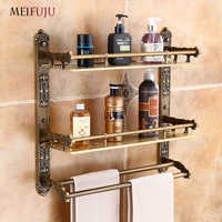 MEIFUJU Aluminum Bathroom Shelf Black Gold Bathroom Shelves Rack with Swivel Hooks Dual Tier Wall Mounted Antique Corner Shelves