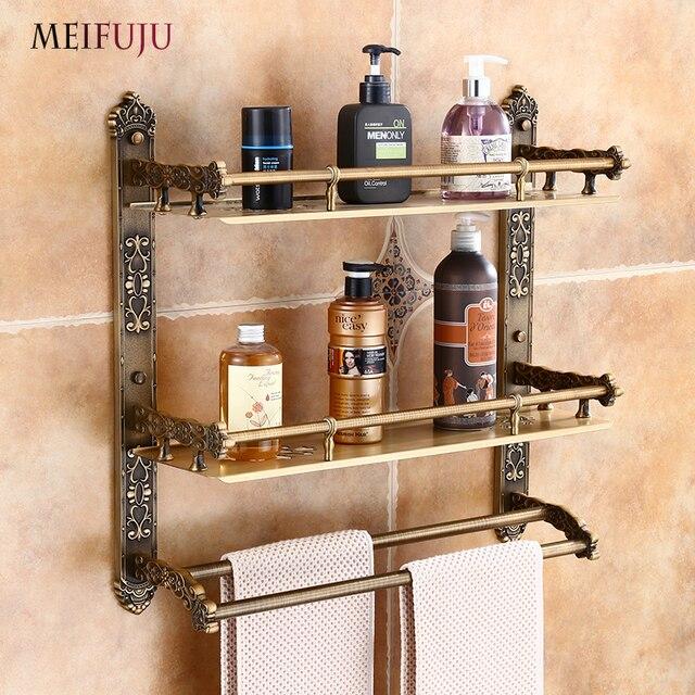 Meifuju Aluminum Bathroom Shelf Black Gold Shelves Rack With Swivel Hooks Dual Tier Wall Mounted