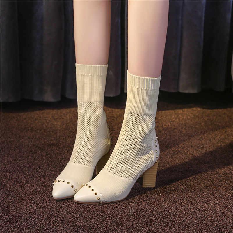 FEDONAS1Fashion Kadın Orta Buzağı Çizmeler Sivri Burun Sonbahar Kış sıcak Yüksek Topuklu Ayakkabılar Kadın Zarif Slip-on Kalİte streç Çizmeler