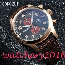 Sport Corgeut 46mm black dial golden plated stainless steel Case Crystal Date window Quartz Mechancial Mens WristWatches