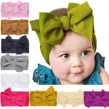 Baby Headband Girls Ribbon Hair Bands Solid Bowknot Headwear Hair Elastic Tiara For Girl Newborn Turban Babies Hair Accessories(China)