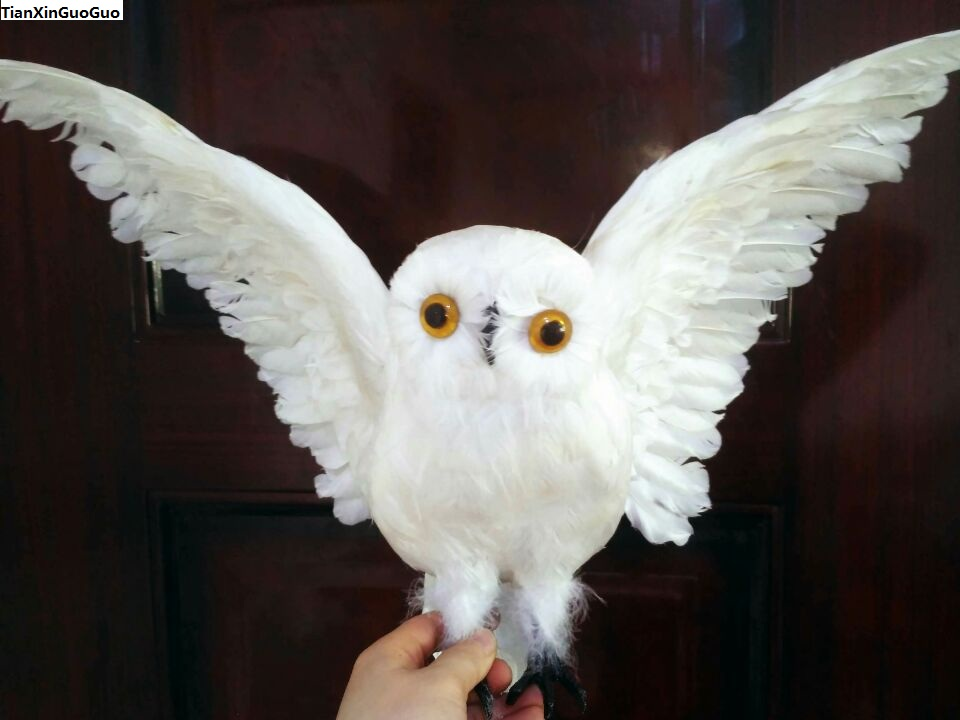 large 35x60cm white feathers owl simulation night owl spreading wings bird hard model ,garden decoration ornaments gift s1428 about 30cm simulation black night owl toy lifelike model garden decoration gift t038