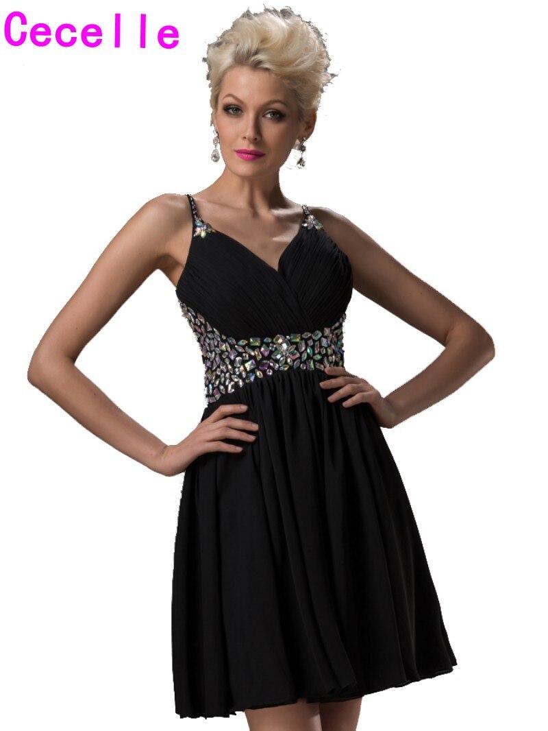 Black dress juniors - Real Short Homecoming Dresses 2017 Black A Line Crystals Chiffon V Neck Juniors Prom Cocktail