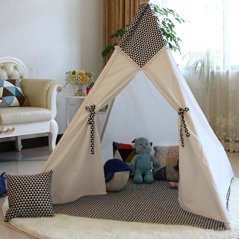 Lovely cartoon teepee kid play tent cotton canvas kids teepee white playhouse fabric children bed tent indoor-in Toy Tents from Toys u0026 Hobbies on ... & Lovely cartoon teepee kid play tent cotton canvas kids teepee ...