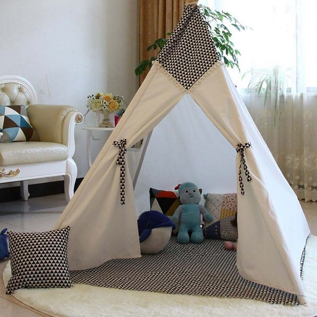 Lovely cartoon teepee kid play tent cotton canvas kids teepee white playhouse fabric children bed tent indoor & Online Shop Lovely cartoon teepee kid play tent cotton canvas kids ...