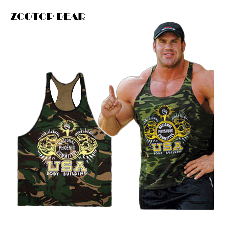 2017 New clothing Men Singlets Camouflage   Tank     Top   Crossit Shirt Bodybuilding Equipment Crossfit Men's Gold Stringer ZOOTOP BEAR
