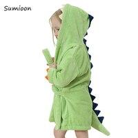 Милые банные халаты для малышей; пижамы для девочек; детское пляжное полотенце с капюшоном и рисунком динозавра; банный халат для мальчиков;...