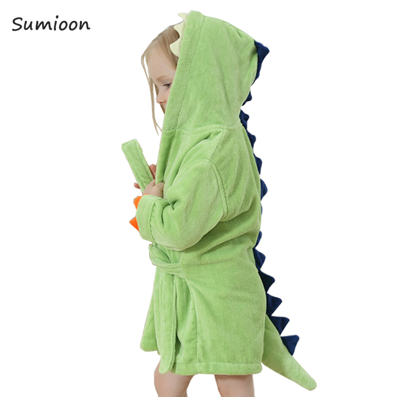 Cute Baby Bathrobes For Girls Pajamas Kids Dinosaur Hooded Beach Towel Boys Bath Robe Pajamas Baby Sleepwear Children Clothing