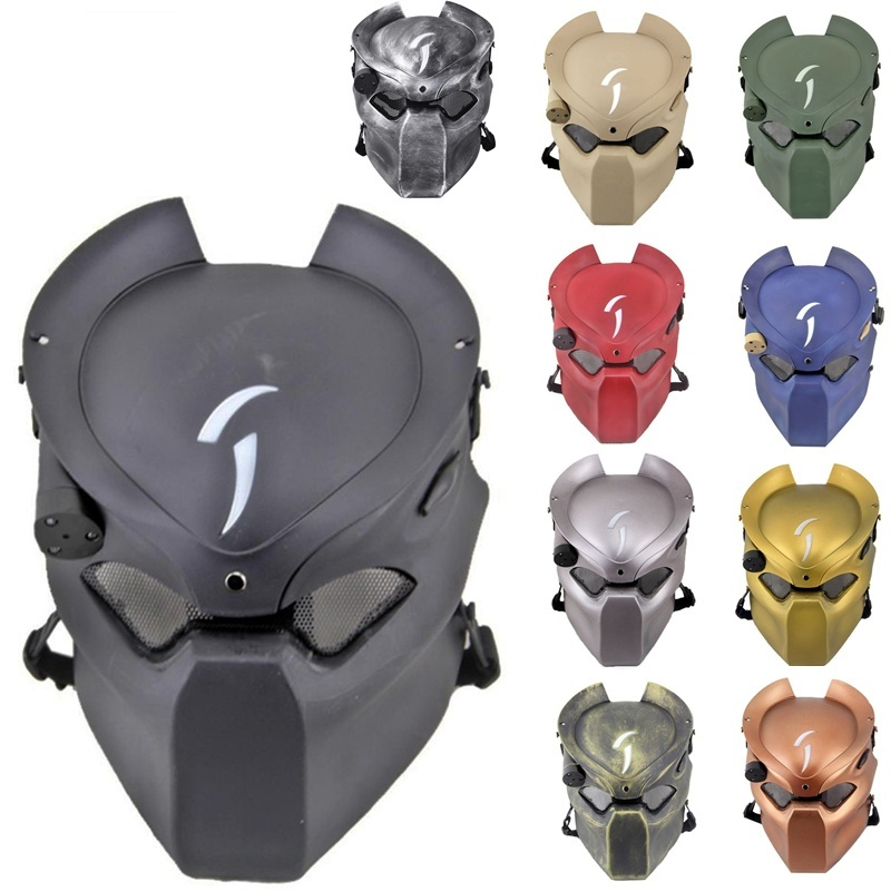 DC14 Alien Vs Predator Lonely Wolf Skull Military Tactical Airsoft Full Face Protective Mask With Lamp Cosplay Halloween Party