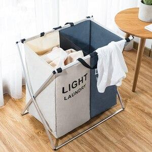 Image 4 - Kirli giysi saklama sepeti üç ızgara organizatör sepet katlanabilir büyük çamaşır sepeti su geçirmez ev çamaşır sepeti