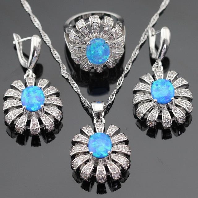 Austrália Azul Opala Branco Cubic Zirconia Prata Brincos Anéis Conjuntos de Jóias Para As Mulheres Colar de Pingente de Cor Caixa de Presente