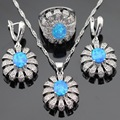 Australia Blue Opal White Cubic Zirconia Silver Color Jewelry Sets For Women Necklace Pendant Drop Earrings Rings Gift Box