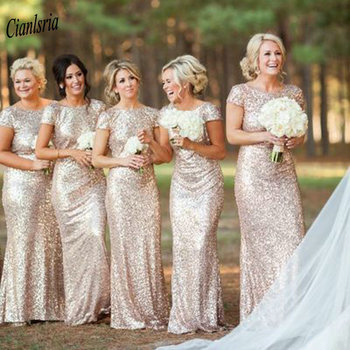 Gold Sequined Long Mermaid Bridesmaid Dresses Cap Sleeve Backless Draped Wedding Guest Dress For Wedding Party robe demoiselle