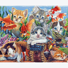 Full Square Drill Diamond Embroidery Cat Round Painting Animal Cross stitch Wall Gift  Sale