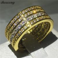 Choucong роскоши Кольцо Полный 5A Циркон Cz желтое золото заполнены 925 Серебряный Обручение обручальное кольца для женщин мужчин ювелирные издел