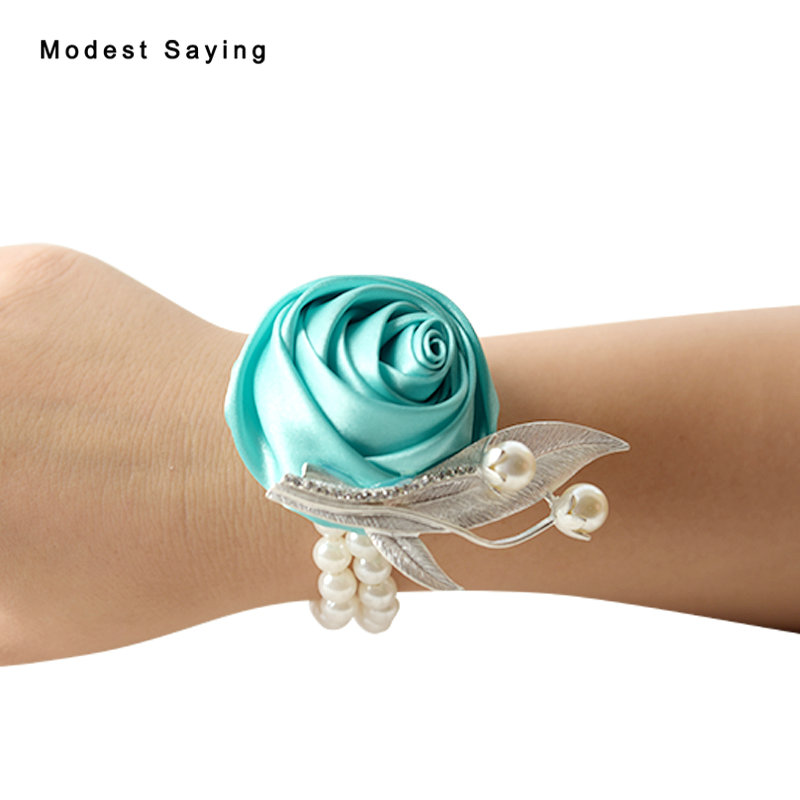 Romantic Turquoise Artificial Rose Pearls Wedding Wrist Corsages 2018 for Groomsman Formal Women Wedding Party Prom Accessories