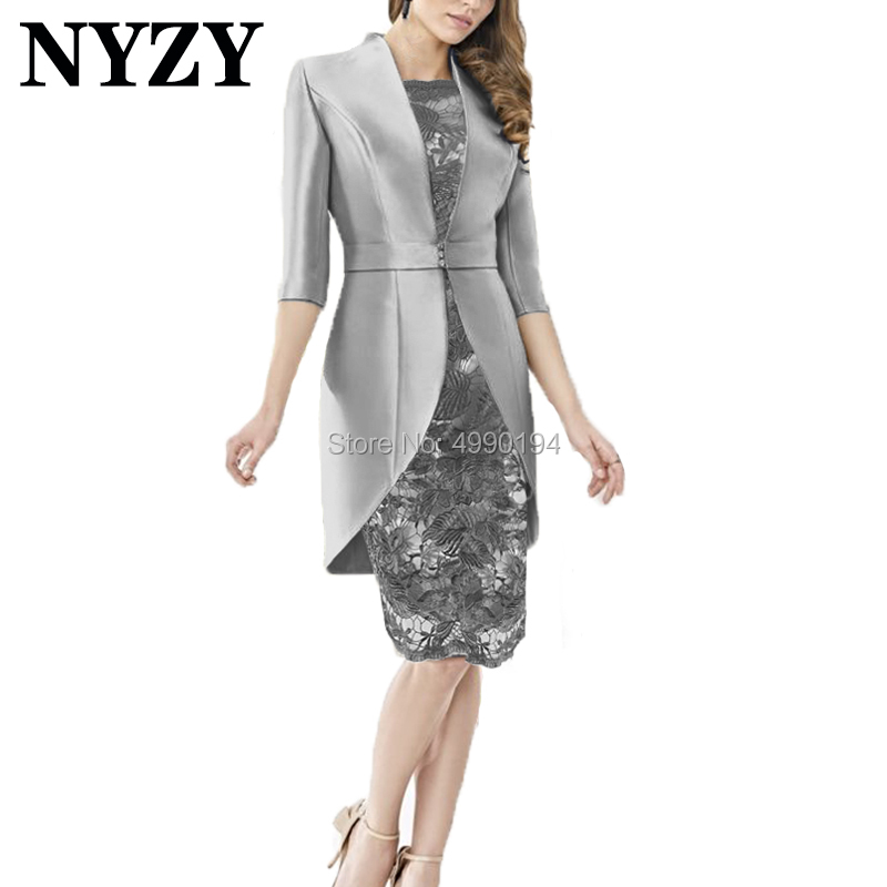 Elegant Satin Jacket 2 Piece Gray Mother Of The Bride Lace Dresses NYZY M215 Party Dress Godmother Outfits Church Suits