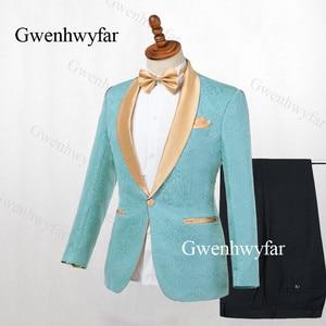 Image 4 - Gwenhwyfar Erkek Takım Elbise Lacivert Jakarlı 2019 Altın Yaka Damat Smokin Parti Balo Erkek Takım Elbise Düğün takımları (Ceket + pantolon)