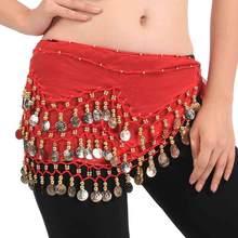 Cadeia de Cintura Dança Do Ventre 3 Camadas Chiffon Lenços de Quadril feminino As Mulheres saia Hip Envoltório Cintura Cinto de Dança Indiana Roupas Acessórios 89