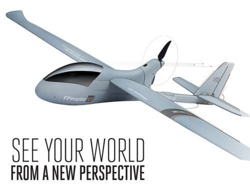 Gratis verzending 6-Ch Afstandsbediening FPV Raptor V2 Skyrider Vliegtuig Glider RC RTF w/ESC Motor