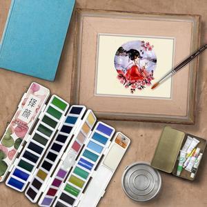Image 5 - Superiore 18/38/58 Colori Fold Solido Pittura Ad Acquerello Set Con Pennello di Acqua e Articoli da Regalo Casella di Acquerello Pigmento per la pittura di colore di Acqua