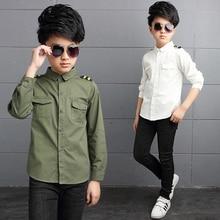 Boy Shirts for Children Spring Autumn 2019 Boys White Shirt Long Sleeve Teenage Boys School Uniform Kids Bow Clothes 4 8 12 15Y