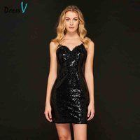 Dressv Black Mini Cocktail Dress Sexy Sweetheart Neck Sleeveless Sheath Homecoming Party Custom Simple Sequins Cocktail Dress