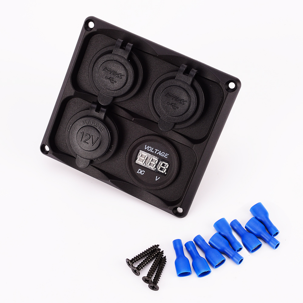Iztoss 12-24 V Digital Blue Voltmètre Allume-cigare Double Prise USB Adaptateur Chargeur 4 trou Volet Base kit pour Voiture Bateau