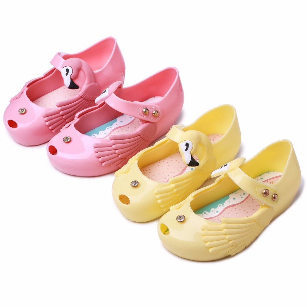 Mini Melissa 2 Color Cute Wing Girls Jelly Sandals 2018 Summer Girls Sandals Melissa Jelly Sandals Girls Cartoon Shoes 13-18CM