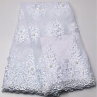 Beautiful Beaded Lace Fabric For Wedding Dress White Color African Tulle Lace Fabric Fashion French Net