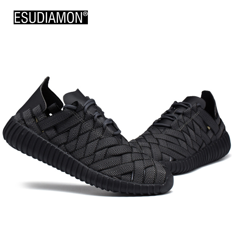 ESUDIAMON New Fashion Weave Men Casual Shoes Spring/Summer Cool Black Lace Up Flats Shoes Breathable Zapatillas Super Light Shoe 2017 new summer breathable men casual shoes autumn fashion men trainers shoes men s lace up zapatillas deportivas 36 45